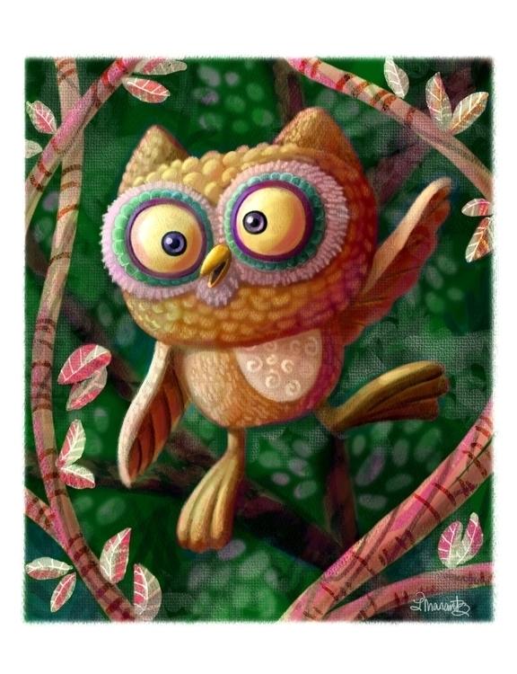 Owl - illustration, kidlitart, kidsillustration - larissamarantz | ello