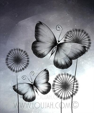 Butterflies - illustration, draw - loujah | ello