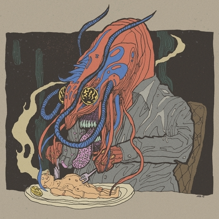 Shrimp eating human - shrim, illustration - xuanquyen | ello