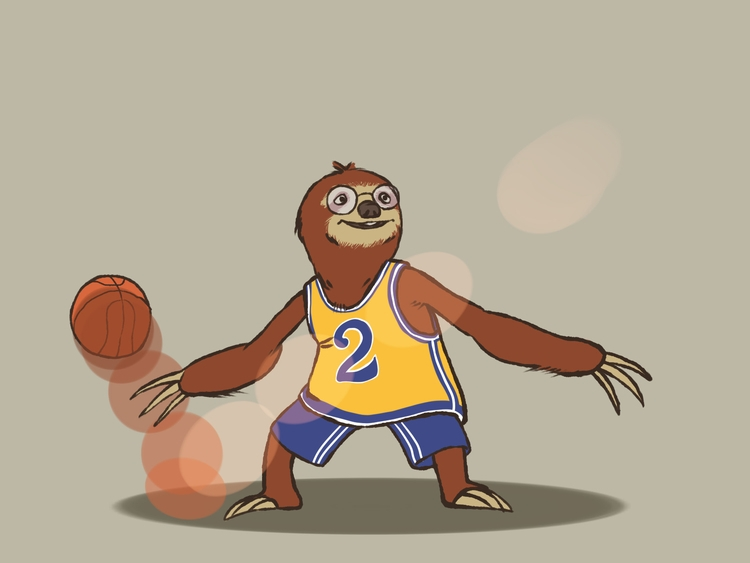 Basketball Sloth - sloth, preguiça - brunodesn | ello