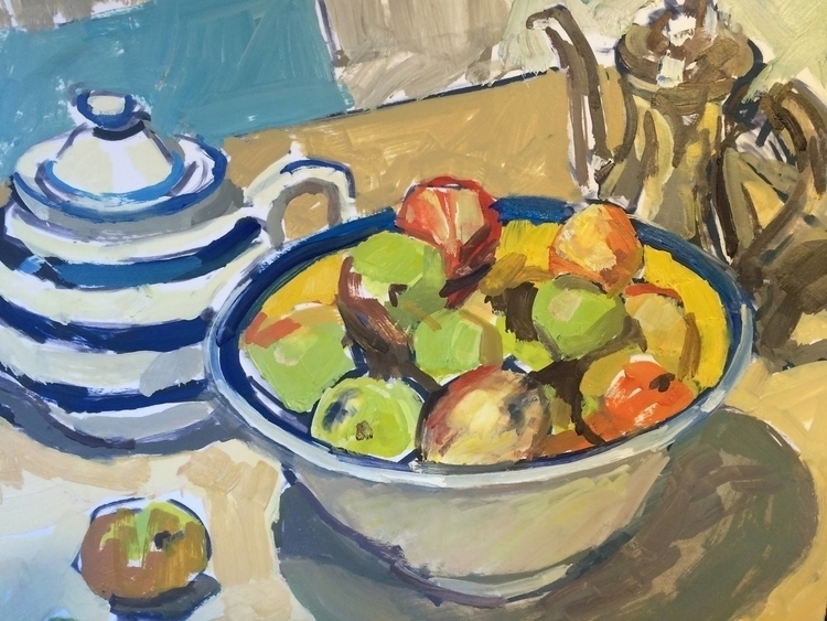 Apples pots - painting, stilllife - lissaphooka | ello