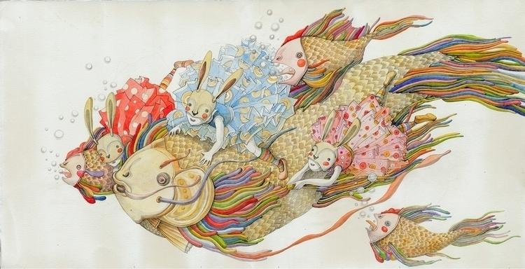 children'sillustration, fishes - linakusaite   ello