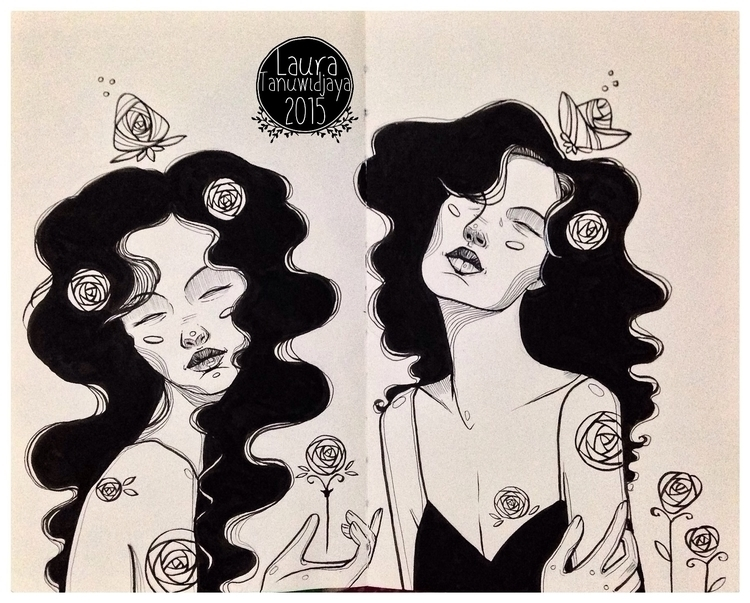 2015 Inktober - illustration, portrait - laura_t-4759 | ello