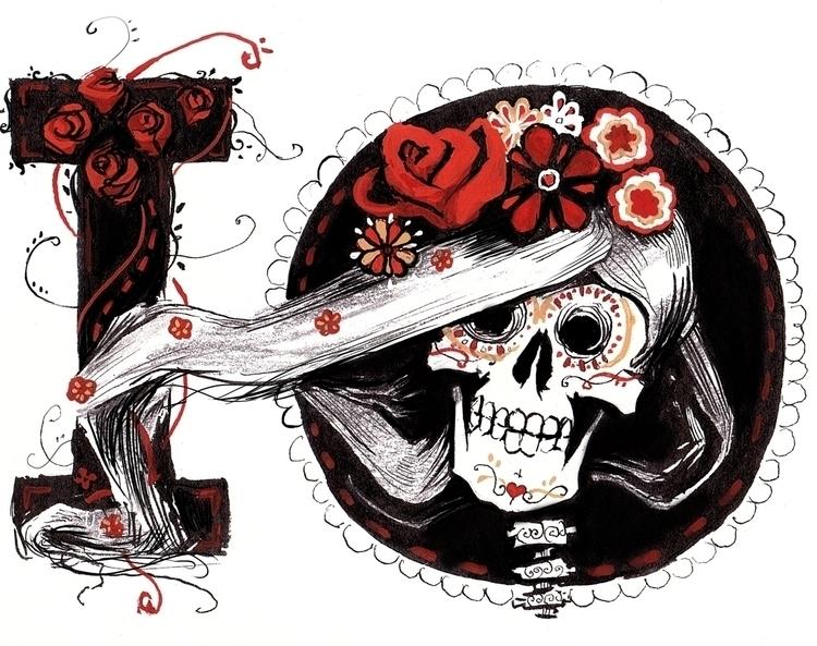 Dios los muertos font  - illustration - leo_partus | ello