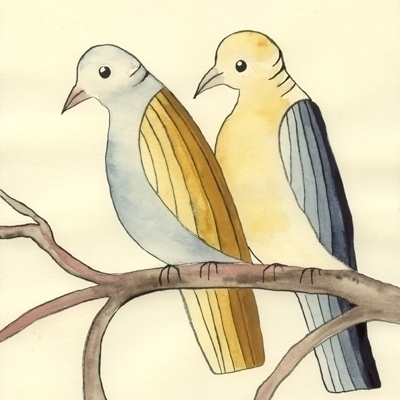 birds, blue, yellow, watercolour - robincottage | ello