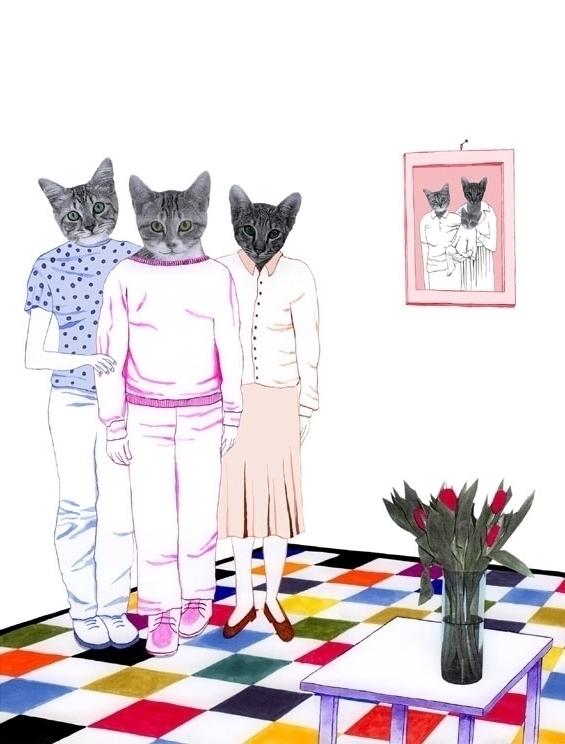 illustration, collage, cat, family - robincottage   ello