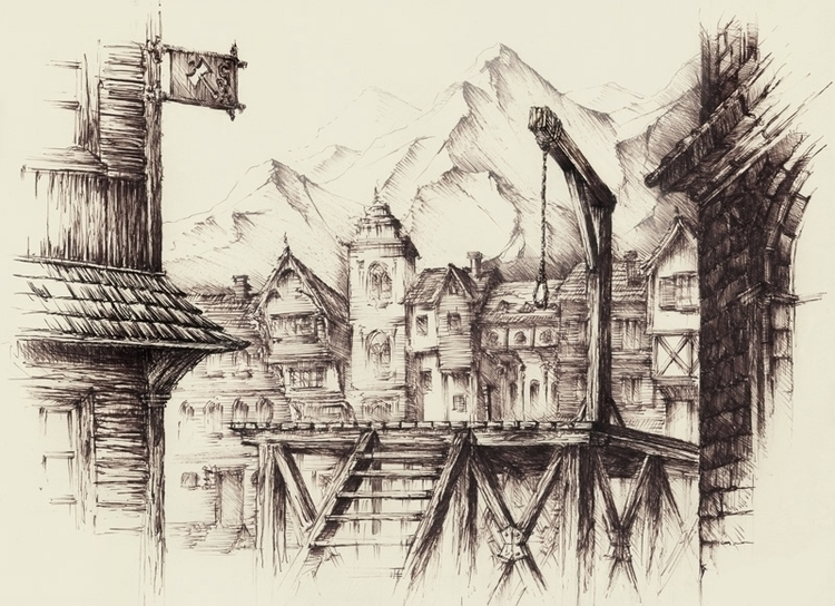 Medieval Town - illustration in - grimdream | ello