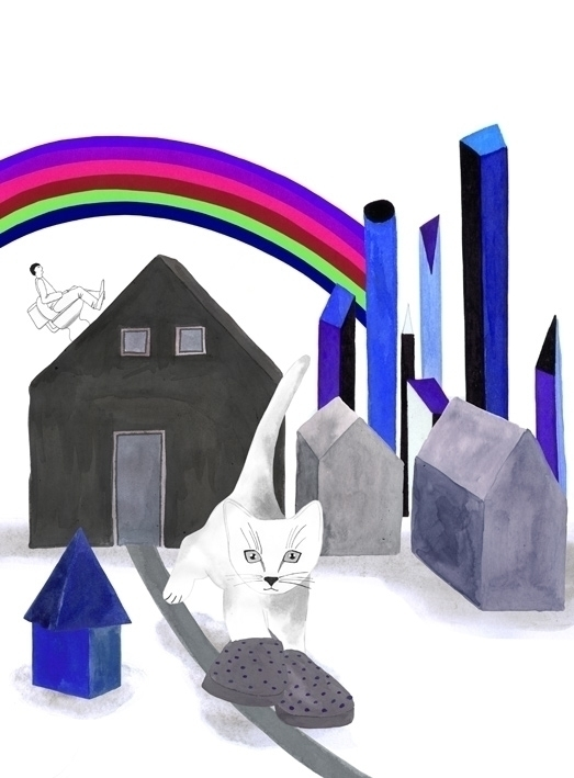 illustration, cat, rainbow, buildings - robincottage | ello