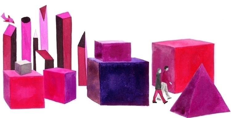 town, bird, pink, watercolour - robincottage | ello