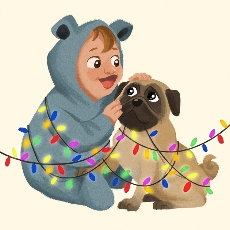 pug baby - illustration, painting - dominicdraws | ello