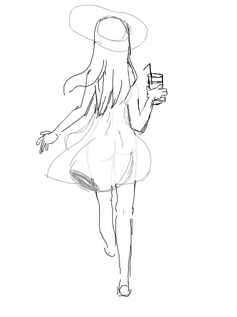 Summer dress - summer, girl, sketch - theaglad | ello