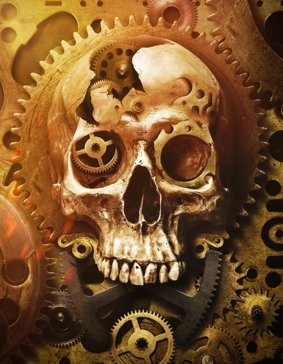 illustration, design, skull, cogwheel - pboro   ello