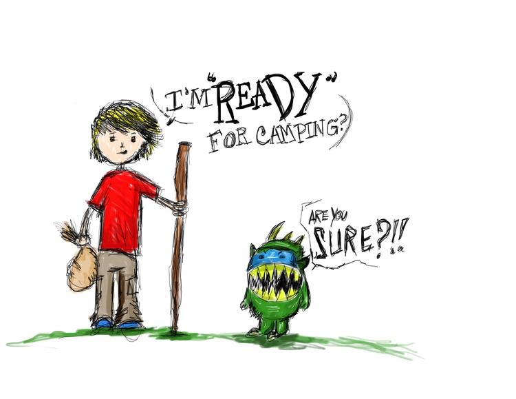 ready camping? boy monster - illustration - dzobel | ello