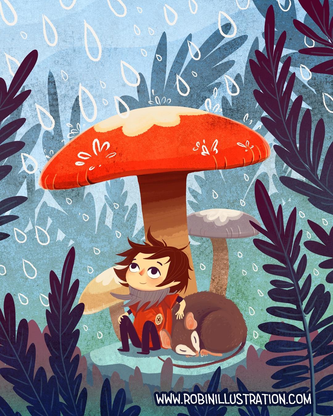 Mushroom Umbrella - mushroom, cutemushroom - robinrobinsonia | ello