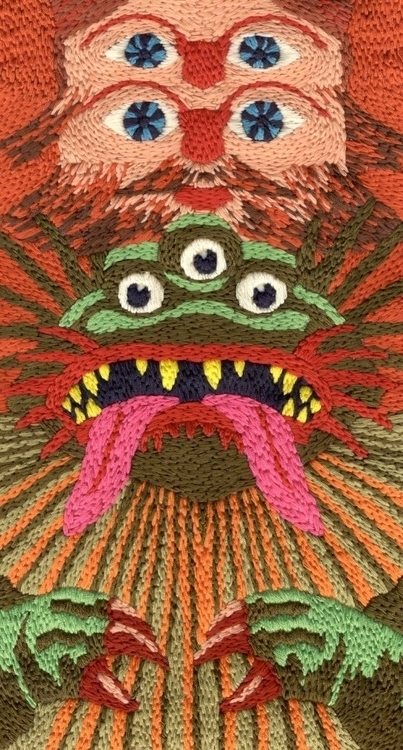 Detail 'Godzillaman'. embroider - chickendog | ello