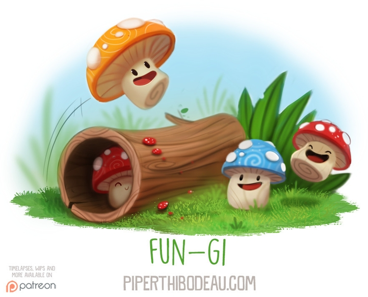 Daily Paint 1587. Fun-gi - piperthibodeau | ello