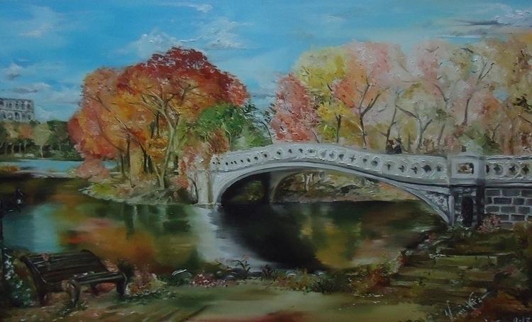 Autumn Bridge - Oil Painting 20 - vanniegama | ello