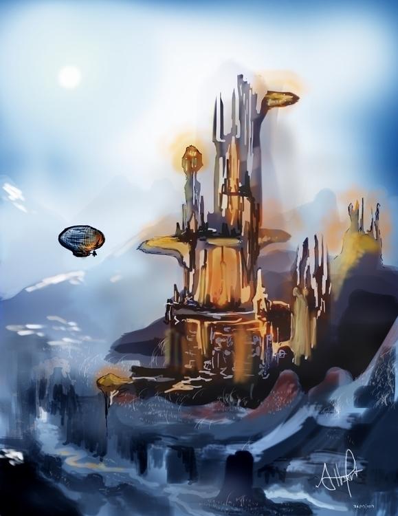 castle, scifi, sci-fi, steampunk - albertpradells | ello