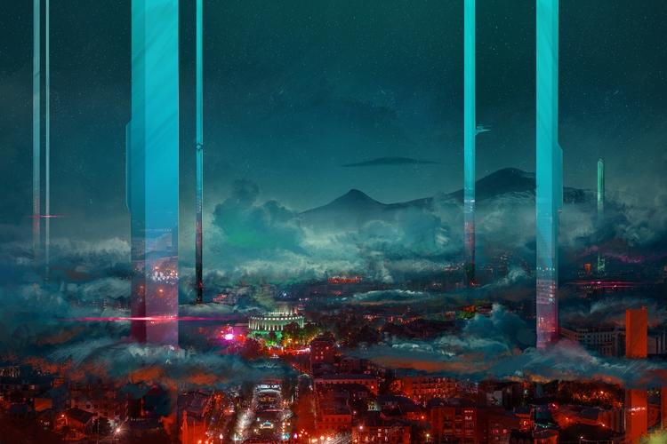 blue_city - illustration, painting - lidiagh   ello