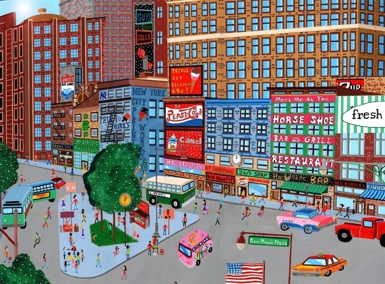 Manhattan city scene painting - illustration - mohanballard | ello