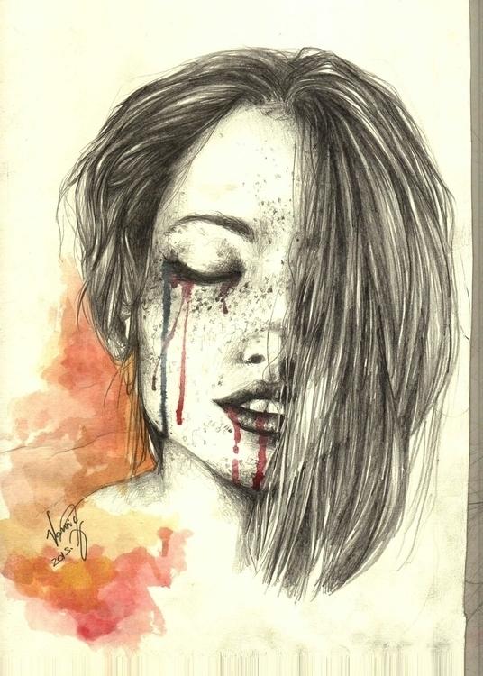 Leaving - watercolor, woman, pencil - vanniegama   ello