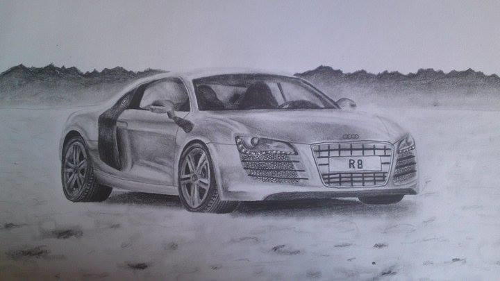 Audi R8 - learning draw - car, pencildrawing - bigfloppybanana | ello