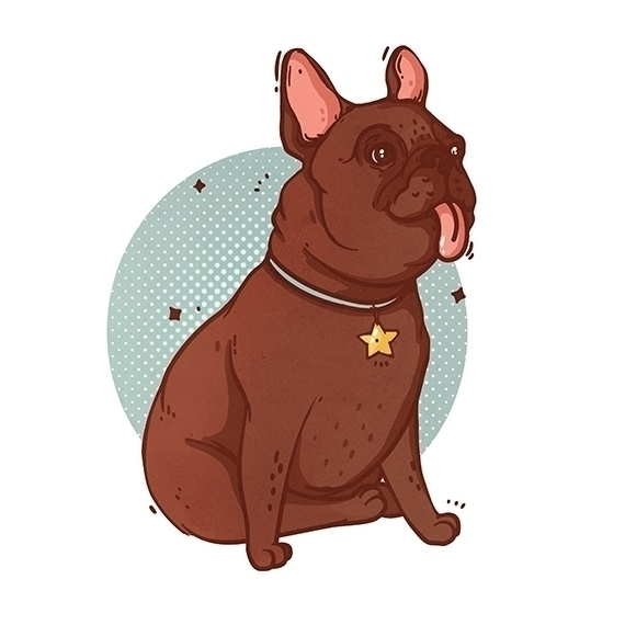 illustration, dog, frenchbulldog - elenaresko | ello