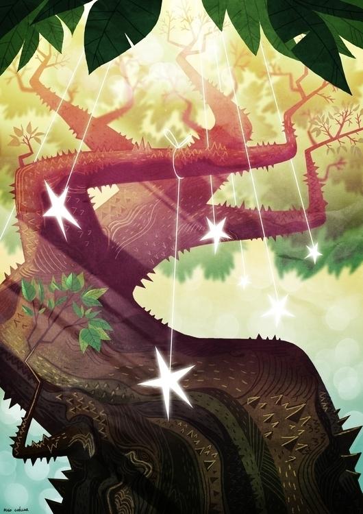 Star tree - illustration, background - hugocuellar | ello