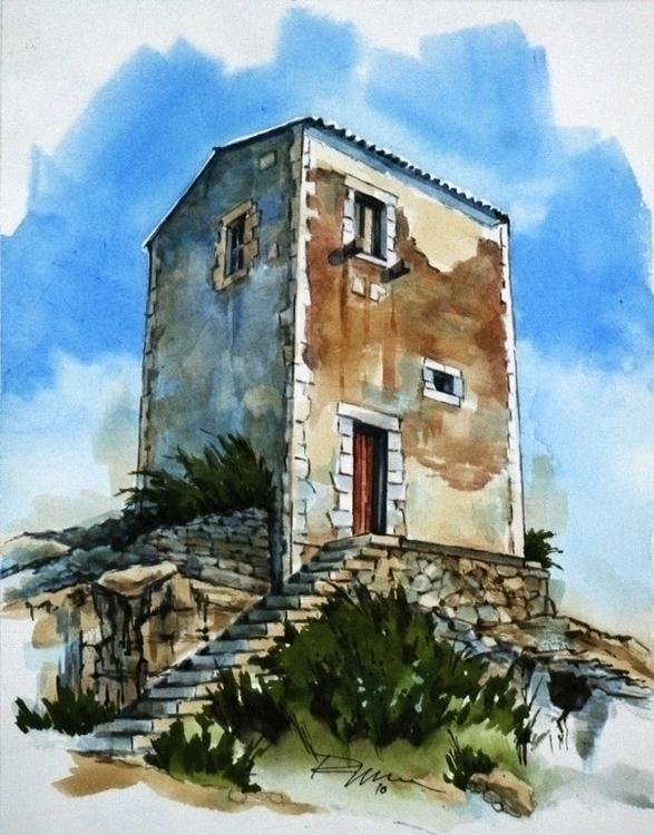 Siracusa Stone House - watercolor - rlnelsonmo | ello