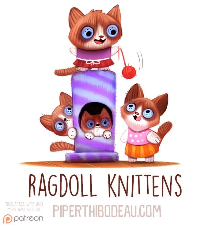 Daily Paint 1595. Ragdoll Knitt - piperthibodeau | ello