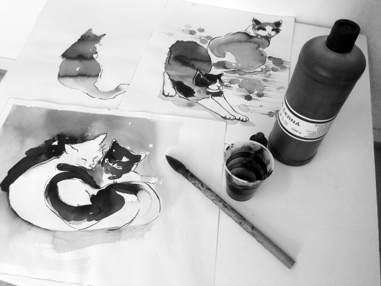 ink cats start - cat, drawing - randi-8271   ello