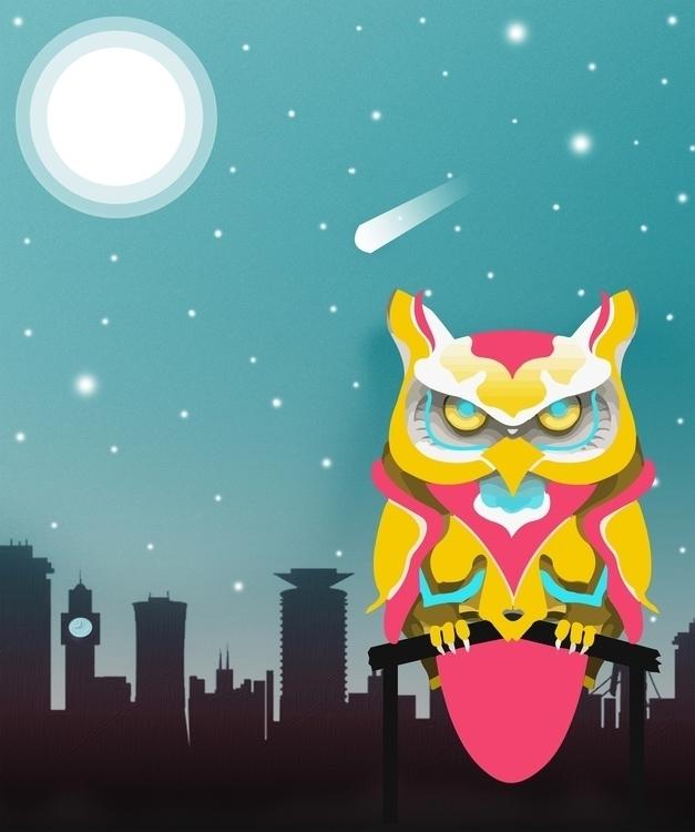 Vector owl hanging Nairobi - illustration - izakmuraya | ello
