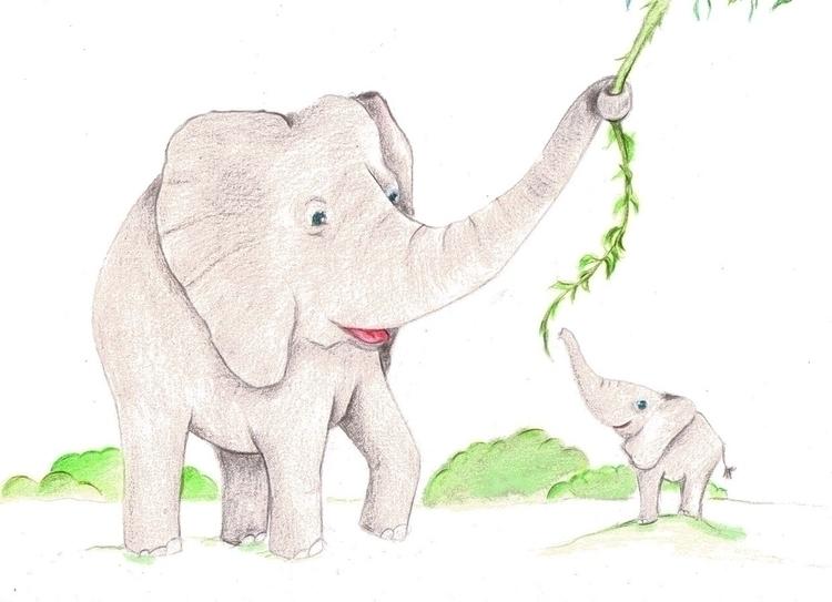 Elephant - illustration, characterdesign - patriciadecos | ello