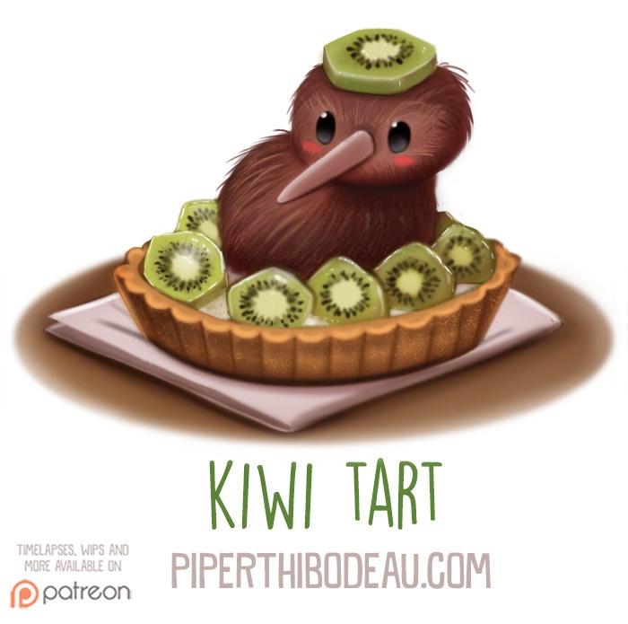 Daily Paint 1600. Kiwi Tart - piperthibodeau | ello