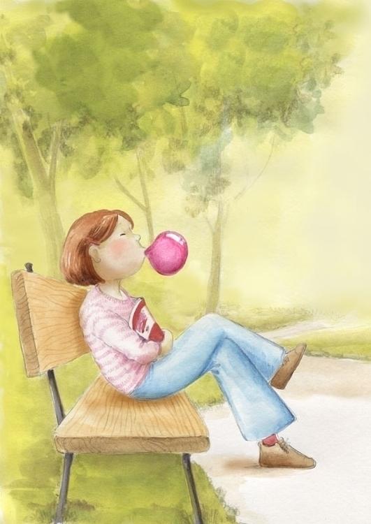 Leisure time - illustration, watercolor - joannapasek | ello