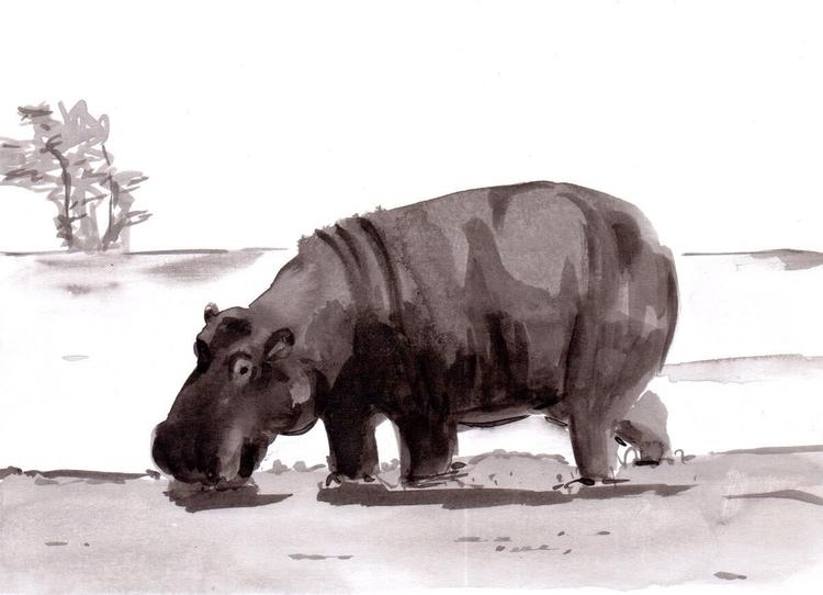 Hippo - ink, inktober, wildlife - patriciadecos | ello