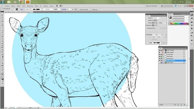 deer work progress, colour - art - atsukosan-3588 | ello