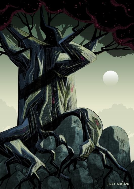 day, tree - illustration, digitalart - hugocuellar | ello