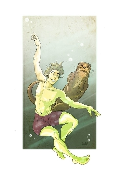 Otter - illustration, digitalart - misscilla | ello