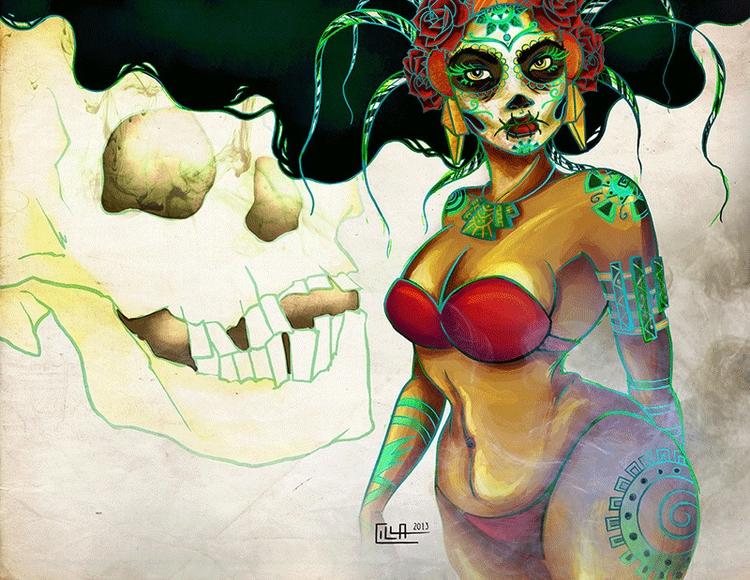 Mictecacihuatl - illustration, digitalart - misscilla | ello