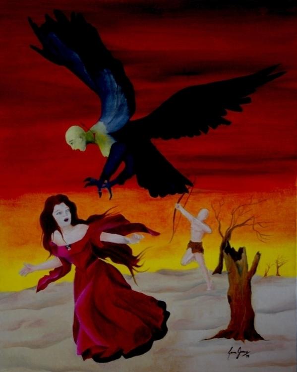 Harpy - Oil canvas 40 50 cm - illustration - lauragreco | ello