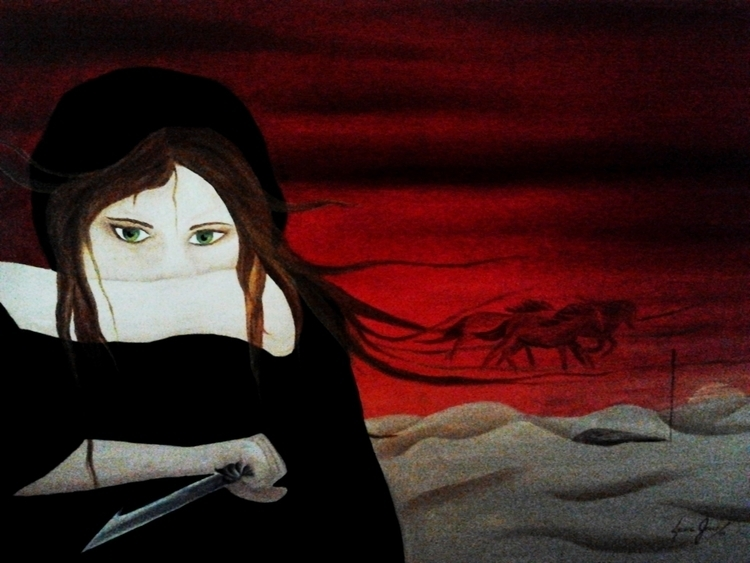 woman - Oil canvas 47 68 cm - illustration - lauragreco | ello