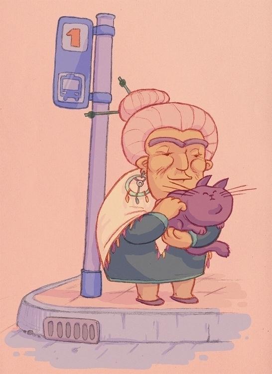 cat, oldwoman, busstop - camotron | ello