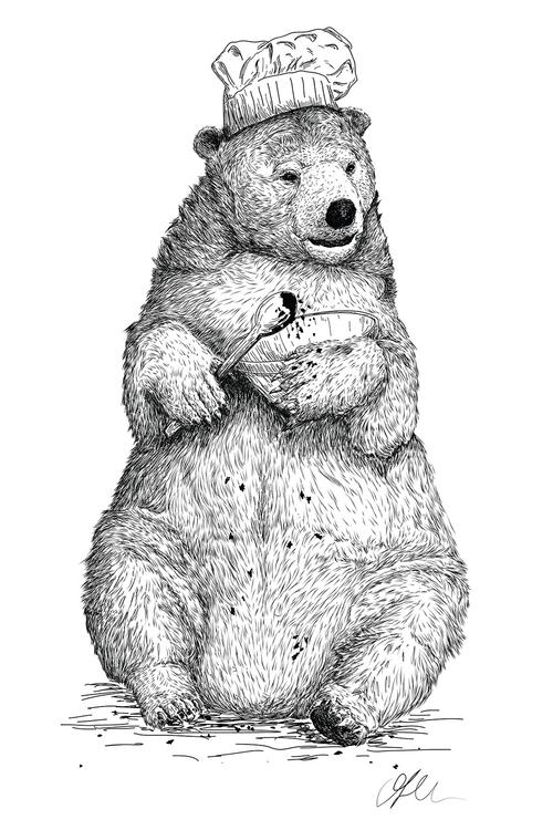 illustration, drawing, bear - oliverrobertholmes | ello