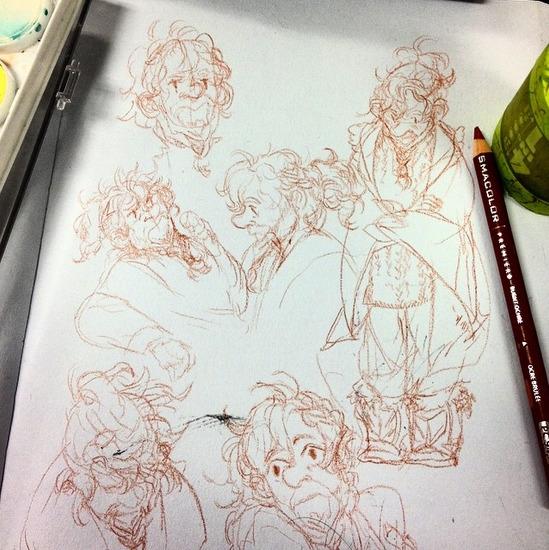 dwarf doodles - moleskine, prismacolor - sheeprilyn | ello