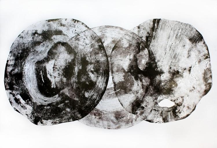 100x70, linocut, mixed media - art - judytacz | ello