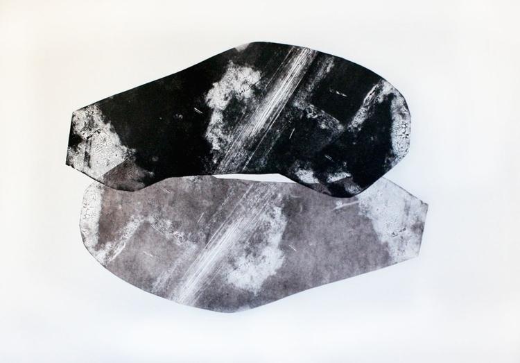 100x70, linocut, mixed media - linoleumprint - judytacz | ello