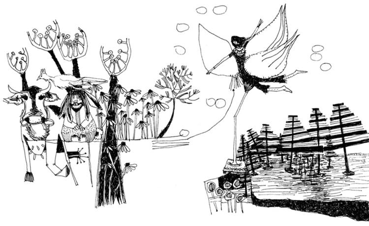 illustration, blackandwhite, cow - tychonikum | ello