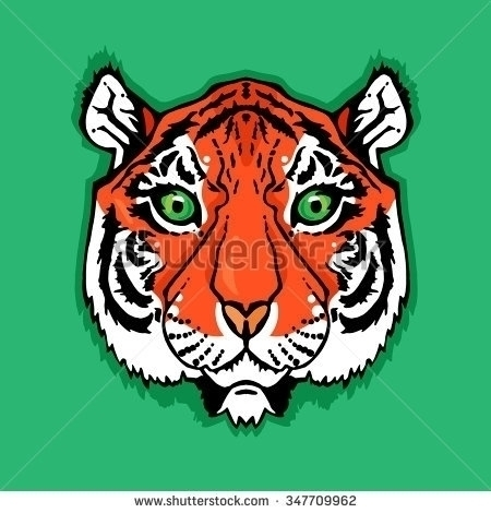 Illustration isolated tiger hea - barsrsind | ello