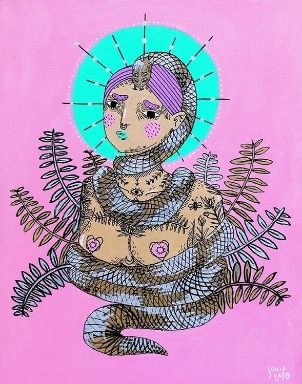 Veneno - painting, girl, hurt, snake - sonialazo | ello